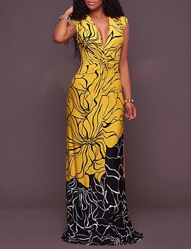 Mulheres Boho Delgado Calças - Estampa Colorida / Mulher Sensual Retro Amarelo / Longo / Decote em V Profundo / Feriado / Praia