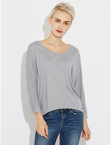 Mulheres Camiseta Estampado Algodão / Primavera