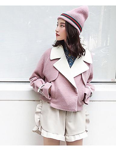 Damen Solide Einfach Party Wear to work Mantel,Hemdkragen Winter Langarm Kurz Baumwolle Acryl Polyester