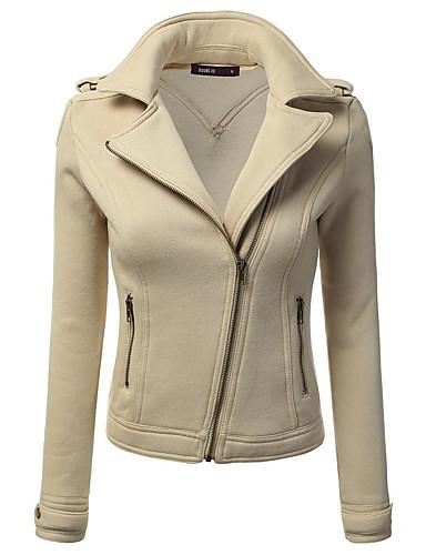 Damen Solide Einfach Ausgehen Lederjacken,V-Ausschnitt Herbst Winter Langarm Standard PU