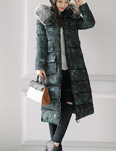 Damen Gefüttert Mantel Einfach Ausgehen Lässig/Alltäglich Druck-Polyester Langarm