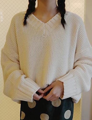 Damen Standard Strickjacke-Lässig/Alltäglich Solide V-Ausschnitt Langarm Baumwolle Herbst Winter Mittel Mikro-elastisch