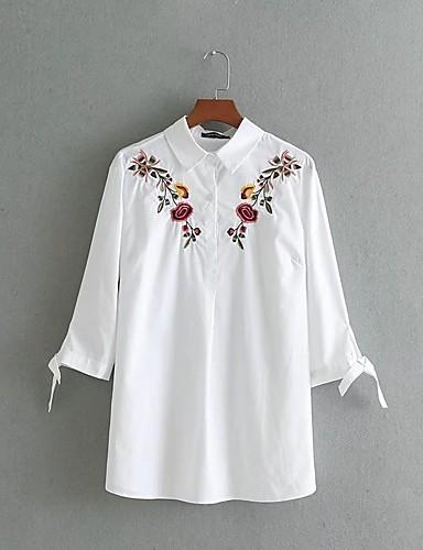 Damen Solide Stickerei Ausgehen Lässig/Alltäglich Hemd,Hemdkragen Langarm Baumwolle Mittel