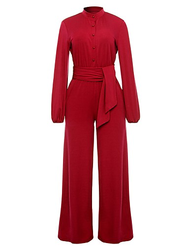 c9f18a61576d Women s Wide Leg Party   Work V Neck Blue Black Red Wide Leg Jumpsuit