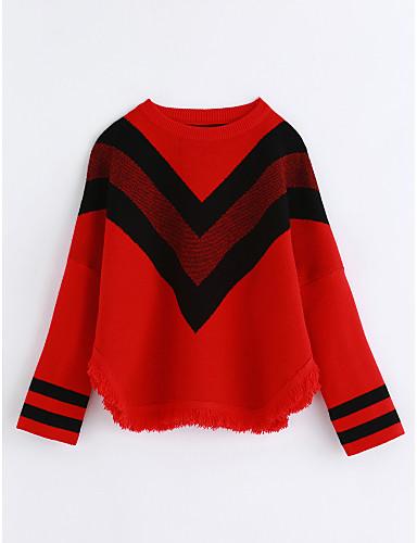Bluzka Bawełna Dla dziewczynek Prążki Jesień Czerwony