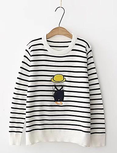 Damen Standard Pullover-Ausgehen Lässig/Alltäglich Gestreift Druck Einfarbig Rundhalsausschnitt Langarm Andere Mittel Dick Mikro-elastisch
