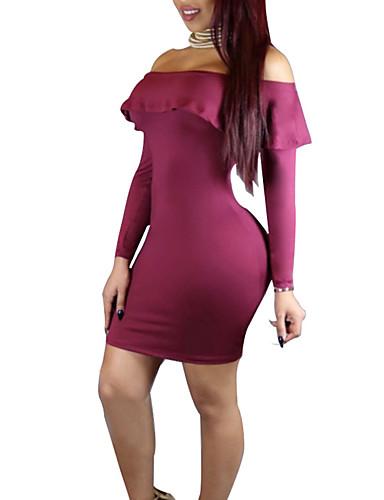 Damen Hülle Kleid-Ausgehen Lässig/Alltäglich Einfach Sexy Solide Schulterfrei Übers Knie Langarm Polyester Mittlere Hüfthöhe