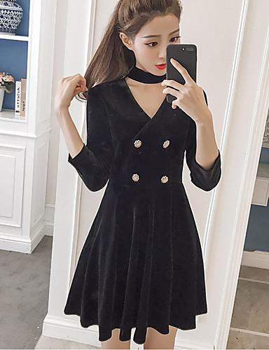 Damen A-Linie Kleid-Ausgehen Solide V-Ausschnitt Übers Knie Langarm Polyester Hohe Taillenlinie Mikro-elastisch Mittel