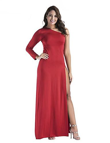 Damskie Bodycon Sukienka - Jendolity kolor, Rozcięcie Na jedno ramię Maxi
