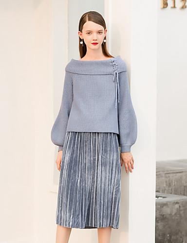abordables Hauts pour Femmes-Femme Rétro Vacances Manches Lanterne Coton Pullover - Couleur Pleine
