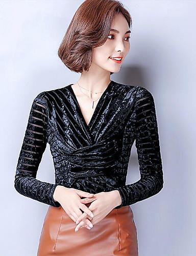 Damen Solide Street Schick Lässig/Alltäglich T-shirt,Rundhalsausschnitt Langarm Baumwolle