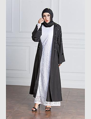 Damen Swing Kleid-Alltag Solide Einfarbig Rundhalsausschnitt Maxi Langärmelige Polyester Alle Jahreszeiten Mittlere Hüfthöhe