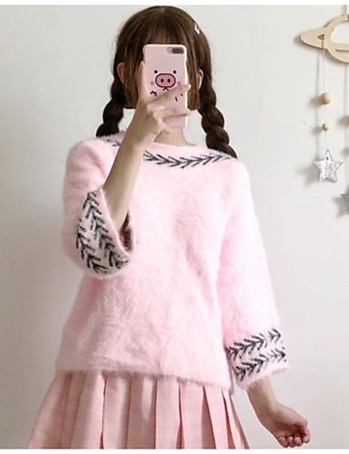 Damen Standard Pullover-Lässig/Alltäglich Solide Rollkragen 3/4 Ärmel Acryl Mittel Mikro-elastisch