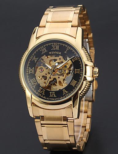 3283d7fbe21 WINNER Homens Relógio Esqueleto Relógio de Pulso relógio mecânico  Automático - da corda automáticamente Aço Inoxidável