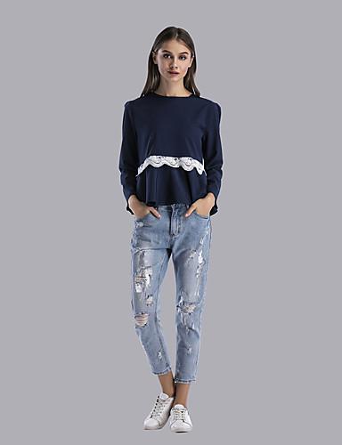 Damen Einfarbig Street Schick Alltag Festtage T-shirt,Rundhalsausschnitt Langarm Polyester