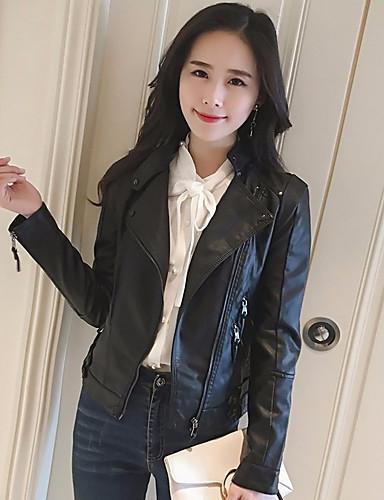 Damen Solide Einfach Ausgehen Lässig/Alltäglich Lederjacken Herbst Standard Andere