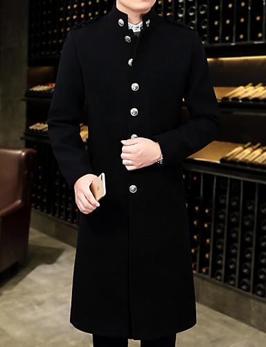 رخيصةأون ملابس خارجية-قطن رجالي أسود XXXL XXXXL 5XL معطف طويلة بسيط / كاجوال لون سادة / كم طويل / الخريف