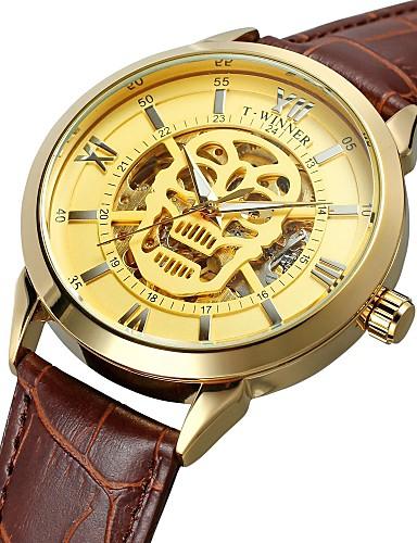 WINNER Męskie Nakręcanie automatyczne Zegarek na nadgarstek Wodoszczelny Hollow Grawerowanie Lebky Skóra naturalna Pasmo Vintage Na co