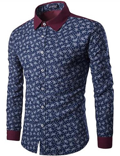 Koszula Męskie Wzornictwo chińskie, Niejednolita całość Bawełna Kwiaty / Długi rękaw