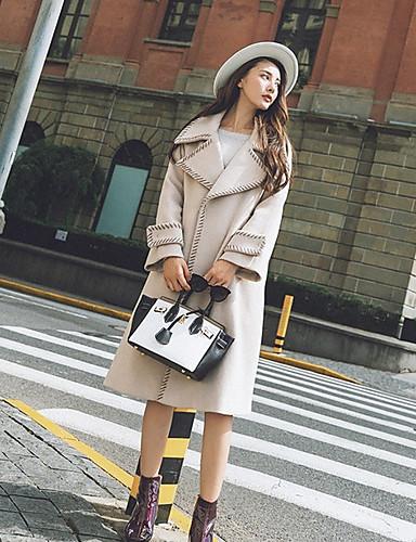 Damen Solide Anspruchsvoll Lässig/Alltäglich Mantel Winter Herbst Langarm Lang Polyester