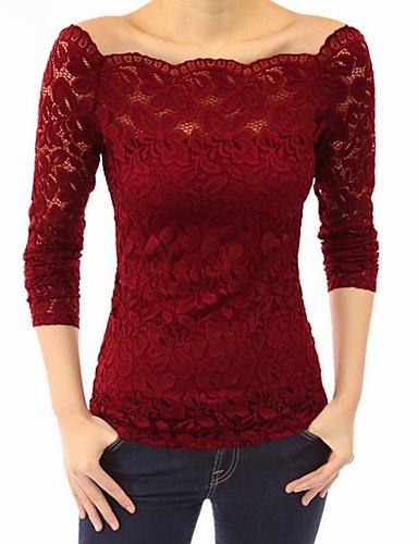 billige Dametopper-Løse skuldre T-skjorte Dame - Ensfarget Svart / Blonder