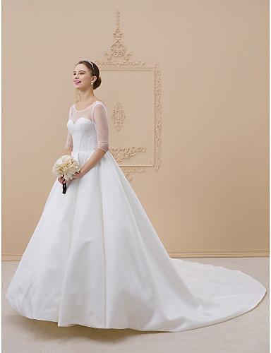 Balowa Linia złudzenia Tren katedralny Satyna Suknie ślubne wykonane na miarę z Fałdki przez LAN TING BRIDE® / Iluzja / Otwórz z powrotem / Prześwitujące