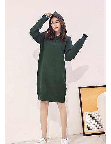 Damen Strickware Kleid-Lässig/Alltäglich Solide Mit Kapuze Übers Knie Langarm Acryl Mittlere Hüfthöhe Mikro-elastisch Mittel