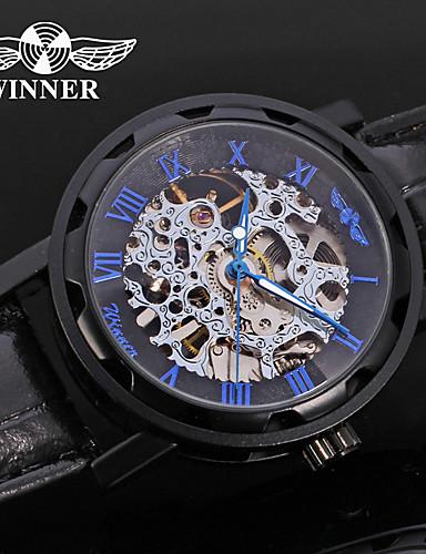 WINNER Męskie Nakręcanie automatyczne zegarek mechaniczny Zegarek na nadgarstek Hollow Grawerowanie Skóra Pasmo Luksusowy Na co dzień Do