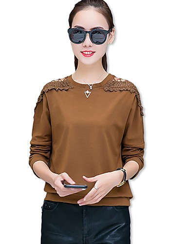 Damen Solide T-shirt, Rundhalsausschnitt Baumwolle Kunstseide