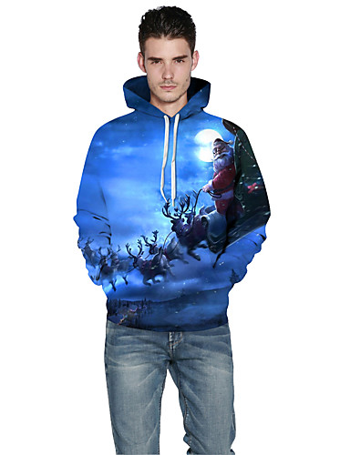 Męskie Rozmiar plus Aktywny Bluza z Kapturem - 3D Print Kaptur