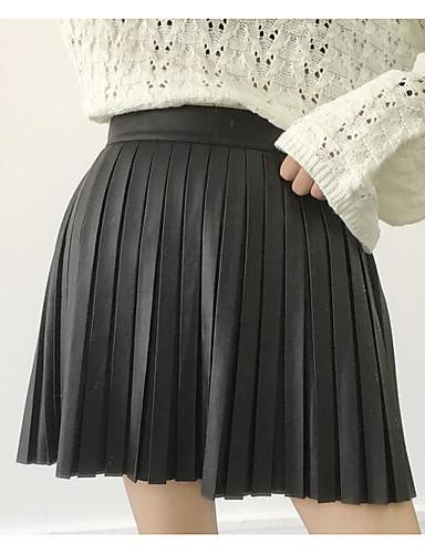 Damen Einfach Schule Lässig/Alltäglich Mini Röcke einfarbig Herbst