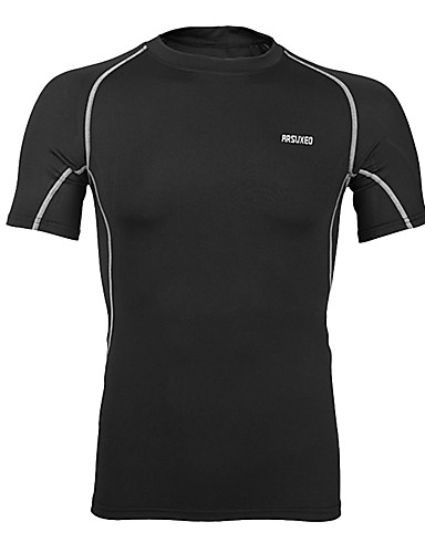 cheap Cycling Clothing-Arsuxeo Men's Short Sleeve Cycling Jersey - Black / Red Black+Sliver Light Green Solid Color Bike Jersey Breathable Quick Dry Sports Spandex Solid Color Mountain Bike MTB Road Bike Cycling Clothing
