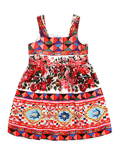 Sukienka Bawełna Dziewczyny Kwiaty Boho Czerwony