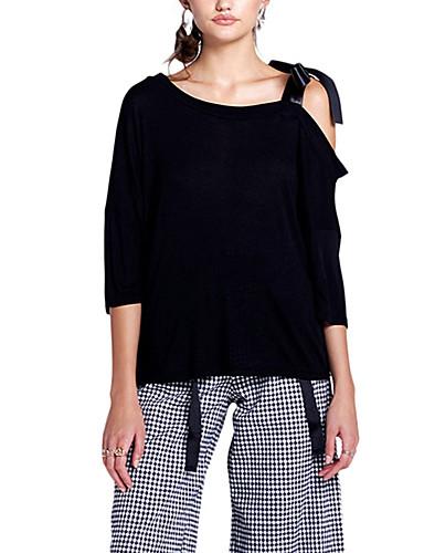 Damen Solide Street Schick Alltag Festtage T-shirt,Rundhalsausschnitt 3/4 Ärmel Polyester