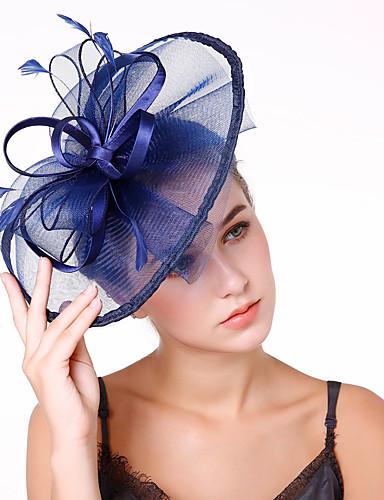 billige Hatte & Imponeringer-Tyll / Fjær / Nett Kentucky Derby Hat / fascinators / blomster med 1 Bryllup / Fest / aften Hodeplagg