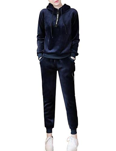 Damen Solide Freizeit Alltag Übergröße Kapuzenshirt Hose Anzüge Langarm Andere