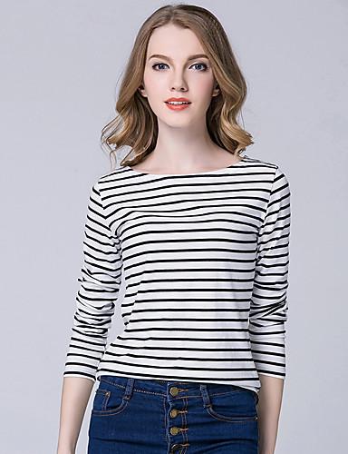 Damen Gestreift Anspruchsvoll Lässig/Alltäglich T-shirt,Rundhalsausschnitt Langarm Baumwolle