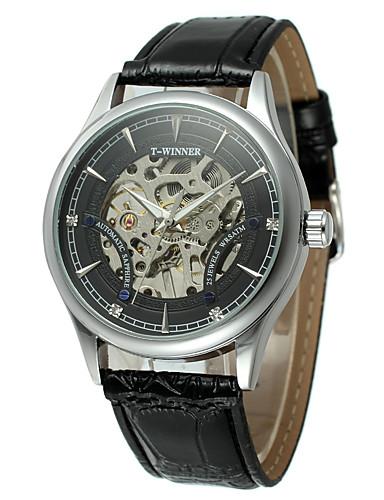 WINNER Męskie Nakręcanie automatyczne Zegarek na nadgarstek Hollow Grawerowanie PU Pasmo Vintage Na co dzień Do sukni / garnituru Modny