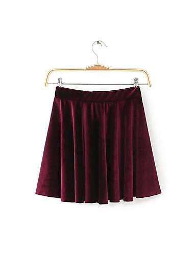Damen Über dem Knie Röcke einfarbig