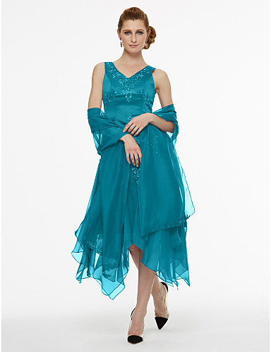 voordelige Wrap Dresses-A-lijn V-hals Asymmetrisch Chiffon / Satijn Bruidsmoederjurken met Kralen / Plooien door LAN TING BRIDE®