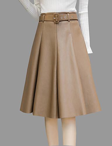 Damen Einfach Knielänge Röcke A-Linie