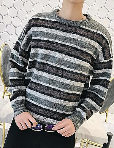 Herren Standard Pullover-Lässig/Alltäglich Gestreift Rundhalsausschnitt Langarm Acryl Mittel Mikro-elastisch