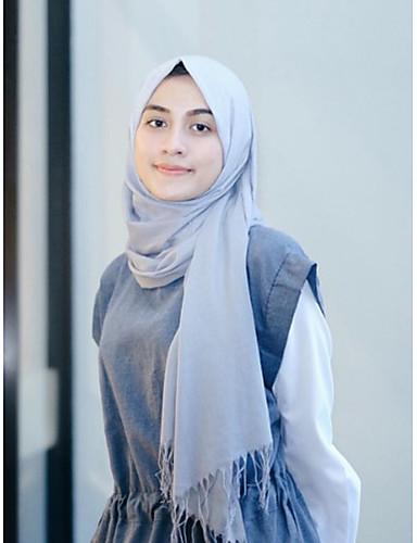 Damen Frühjahr, Herbst, Winter, Sommer Kunstseide Hidschab,Einheitliche Farbe