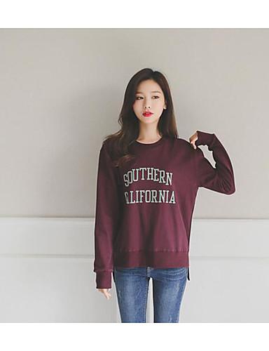 Damen Pullover Ausgehen Druck Mikro-elastisch Baumwolle Herbst