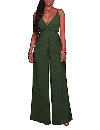 181f2c79f65 Women s Wide Leg Going out Sophisticated Strap   Deep V Wine Army Green  Royal Blue Wide Leg Jumpsuit