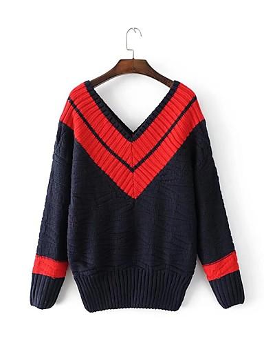 Damen Standard Pullover-Ausgehen Lässig/Alltäglich Solide Gestreift Einfarbig V-Ausschnitt Langarm Acryl Dünn Mittel Mikro-elastisch
