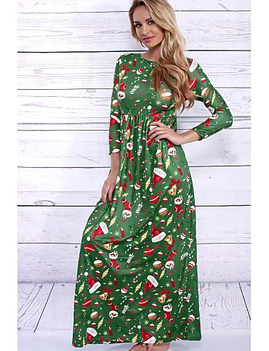 Damen Hülle Kleid-Party Strand Druck Rundhalsausschnitt Maxi Langarm Kunstseide Hohe Hüfthöhe Mikro-elastisch Mittel