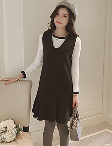 Damen Tunika Kleid-Ausgehen Solide Gurt Übers Knie Ärmellos Polyester Mittlere Hüfthöhe Mikro-elastisch Mittel