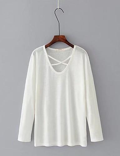 Damen Solide Chinoiserie Ausgehen Lässig/Alltäglich T-shirt,V-Ausschnitt Langarm Andere Dünn Mittel