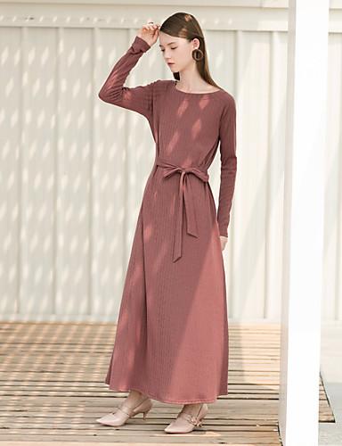Damskie Vintage Luźna Sukienka - Jendolity kolor Wysoka Talia Maxi